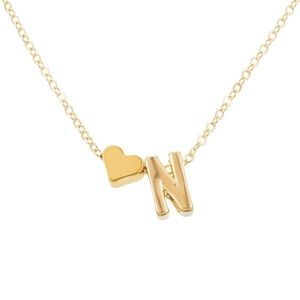 Jewelry - Heart Charm N Initial Dainty Gold Necklace